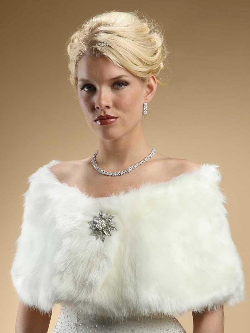 Faux fur wraps evening shawls stole shrug winter wedding for Fur shrug for wedding dress