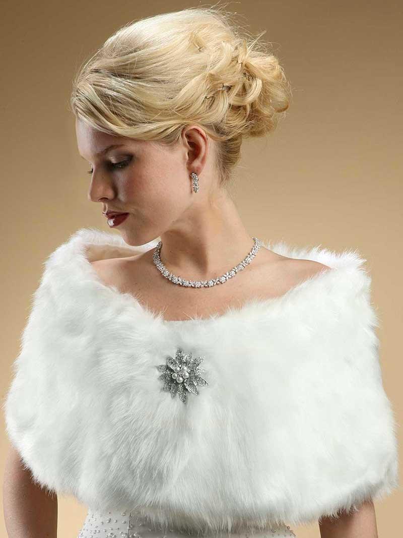 Faux fur wraps evening shawls stole shrug winter wedding for Winter shawls for wedding dresses