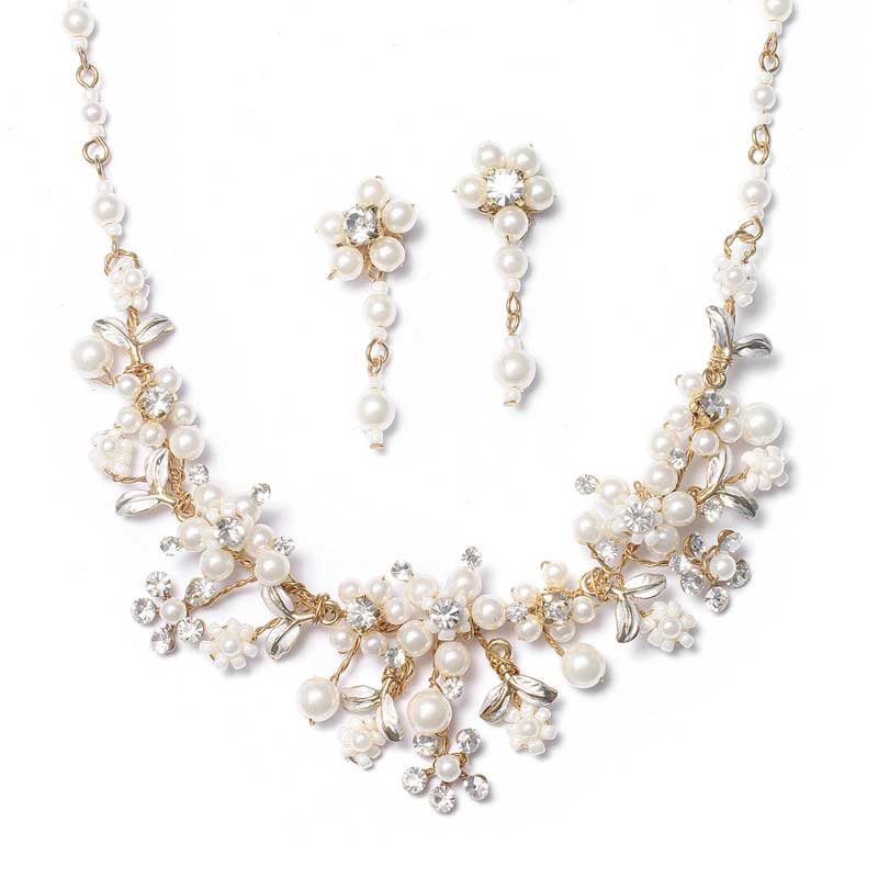 Gold Bridal Jewelry Set Pearl Crystal Necklace Earrings Veils by