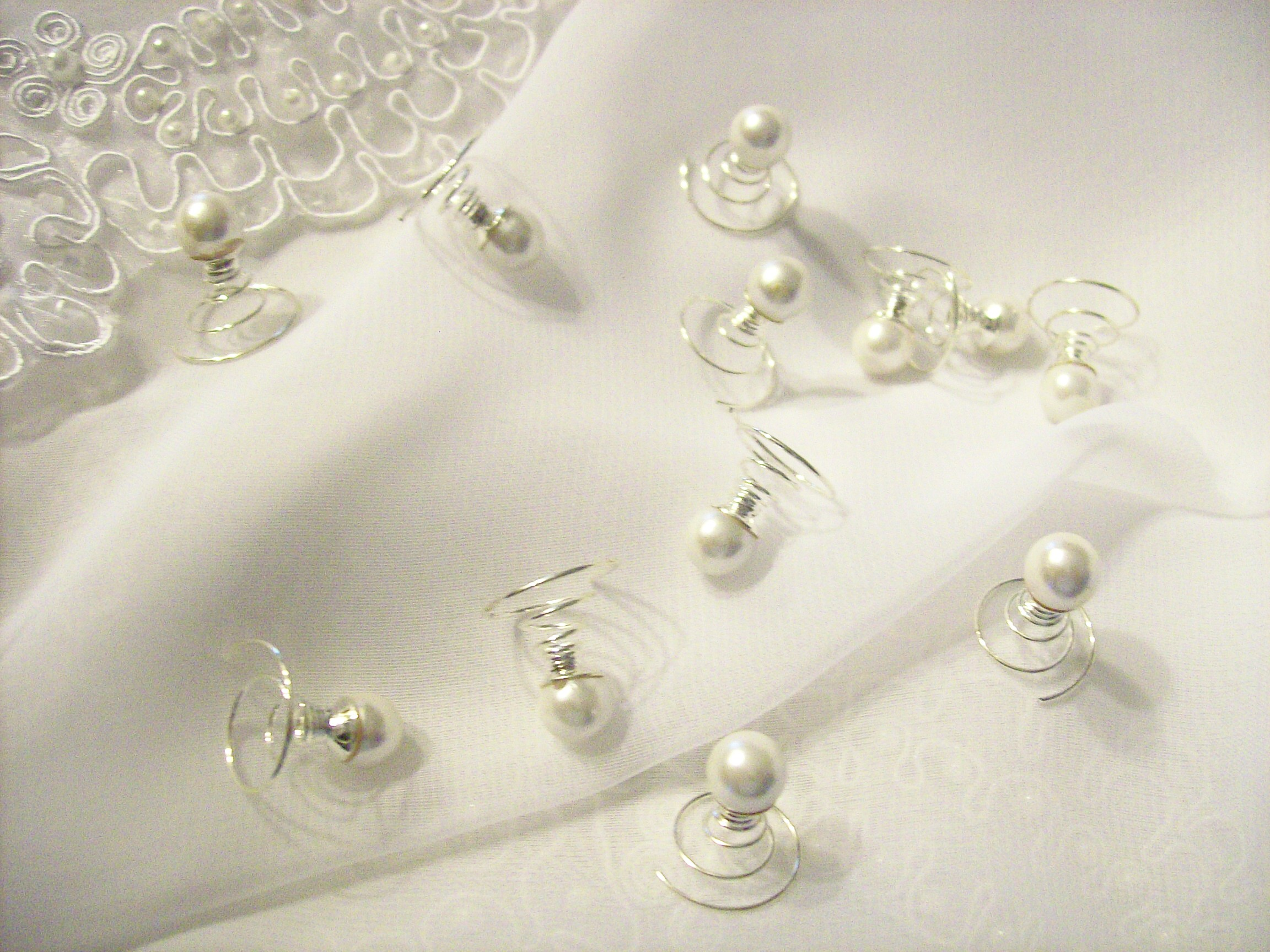 Pearl hair twists set of 12 hair spirals bridal hair for Where to buy wedding accessories