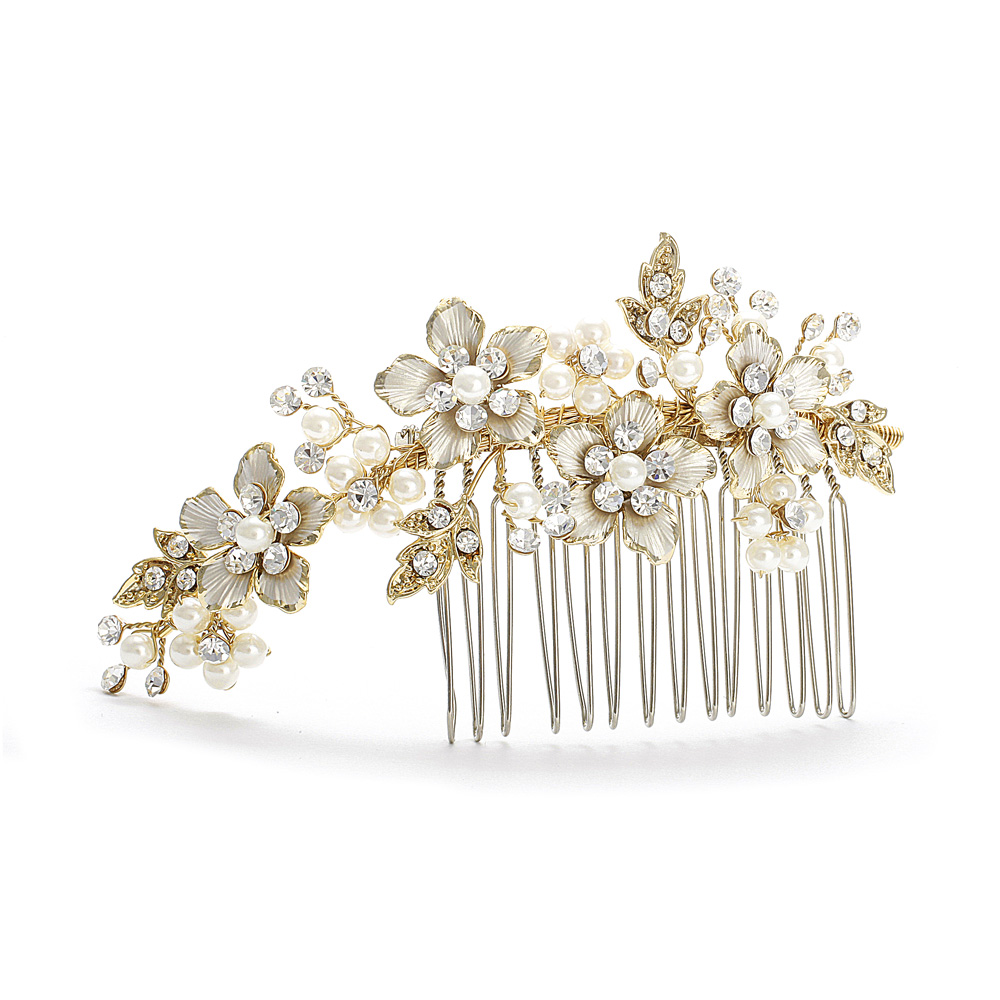 Decorative Hair comb Gold Ivory Pearl Wedding Comb Side ...